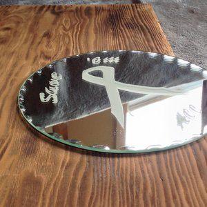 Handmade Breast Cancer Round Mirror
